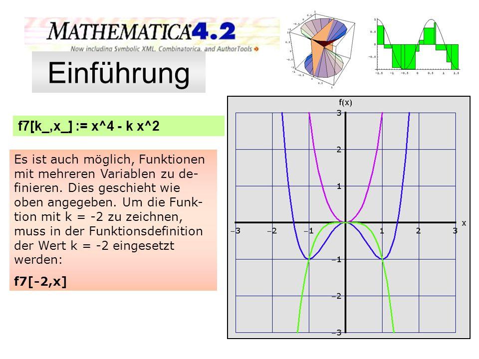 Einführung f7[k_,x_] := x^4 - k x^2